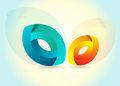 Vector logo a with two colorful ellipses Stock Images