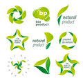 Vector logos for organic natural products Royalty Free Stock Photo