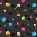 Vector lollipop pattern. Cartoon dessert candy texture. Colorful sugar delicious print. Happy children decoration