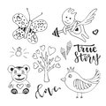 Vector love day set of cute doodle sketch design elements. Cupid, bird, butterfly and love tree vector hand drawn