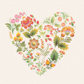 Vector love heart in ukrainian folk style of petrykivka painting art ethnic flowers soft colors on the light background can be Royalty Free Stock Photo