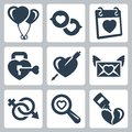 Vector love icons set baloons speech bubbles valentine s day lock heart and arrow letter gender symbol searching of Royalty Free Stock Photos