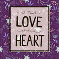 Vector love quote, lettering on floral purple Royalty Free Stock Photo