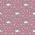 Valentine`s day seamless pattern with coffee cup and hearts. Beautiful greeting card with valentines day seamless