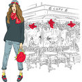 Vector lovely fashion girl on the background of pa in sketch style parisian cafe Stock Photos