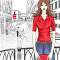 Vector lovely fashion girl on a venice background in red shirt in sketch style Stock Photos