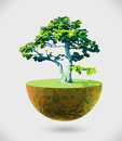 Vector low poly island illustration with tree creative design element for ecology alternative energy solutions reforesting Royalty Free Stock Image