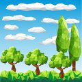 Vector low poly trees on landscape