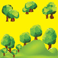 Vector low poly trees on landscape mountain