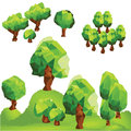 Vector low poly trees on the mountain
