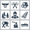 Vector lumberjack icons set Royalty Free Stock Photo
