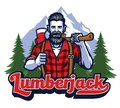 Lumberjack with pipe and holding the big axe Royalty Free Stock Photo