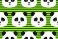Vector lustigen panda des nahtlosen musters auf grünstreifenhintergrund Stockfotos
