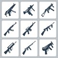 Vector machine guns and assault rifles icons set Stock Images