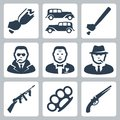 Vector mafia icons set isolated Stock Image