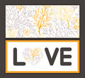 Vector magical floral love text frame pattern Royalty Free Stock Photo