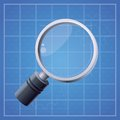 Vector magnifying glass blue background Stock Photos