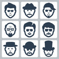 Vector male faces icons set Royalty Free Stock Image