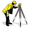 Vector man surveying