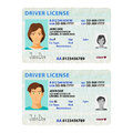 Vector man and woman driver license plastic card template Royalty Free Stock Photo