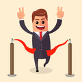 Vector manager or businessman at finish line. A man in  suit crosses the  , red ribbon. Illustration. cartoon  winner Royalty Free Stock Photo