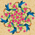 Vector mandala with birds and flowers background Stock Photo