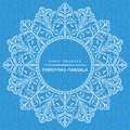 Vector mandala  with christmas decorative elements. Patterned Royalty Free Stock Photo