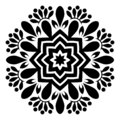 Beautiful Black and white Mandala Illustration.