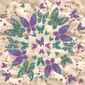 Vector mandala pattern with butterfly background on craft paper Royalty Free Stock Photos