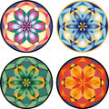 Vector mandala set of in four different variations of colour Royalty Free Stock Photo