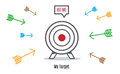 Vector : Many arrow rush to dart board, Business concept, Hit th