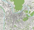 Map Of The City Of Grenoble, Isere, Auvergne-Rhone-Alpes, France
