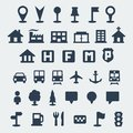 Vector map icons set isolated Royalty Free Stock Image