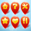 Vector map markers set with icons Royalty Free Stock Photo