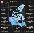 Vector map of provinces and territories of Canada with largest cities and all states capitals skylines