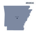 Vector map State of Arkansas isolated on white background. Royalty Free Stock Photo