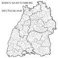 Vector map of the state of Baden-Wurttemberg, Germany