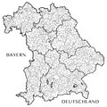 Vector map of the state of Bavaria Bayern, Germany
