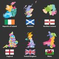 Vector maps and flags of Republic of Ireland, Scotland, Northern Ireland, England, United Kingdom and Wales