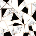 Vector marble texture design with golden geometric lines, black and white marbling surface, modern luxurious background