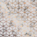 Vector marble texture, seamless pattern design with golden cubes geometric pattern, black and white marbling surface Royalty Free Stock Photo