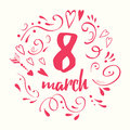 Vector 8 March. Women`s Day sign template with abstract decoration.