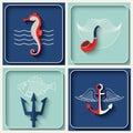 Vector marine theme icons Royalty Free Stock Photo