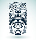 Vector mask mexican mayan aztec motifs symbol easy edit Stock Photography