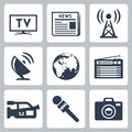 Vector mass media icons set Royalty Free Stock Photography