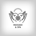 Vector massage and spa therapy logo template, thin line symbols