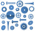 Vector materials symbols tooth wheels circular s various icons saw screws Stock Images