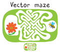 Vector maze labyrinth with flying bee and flower education game for children Stock Photos