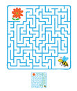 Vector maze labyrinth with flying bee and flower education game for children Stock Photo