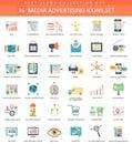 Vector Media advertising color flat icon set. Elegant style design.